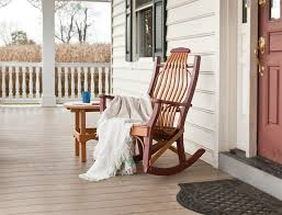 wooden front porch rocking chairs bed and shower front