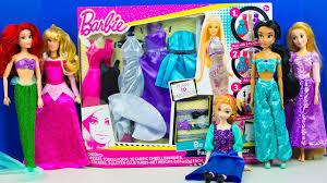 Doll Dress Design Kit Barbie Doll Fashion Designer Disney Princess Dressup Party Frozen Ariel Aurora Jasmine Anna Rapunzel