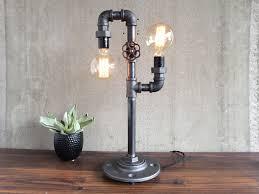 custom made industrial edison bulb light iron pipe table lamp