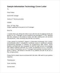 sample information technology cover letter template 8 download free for information technology cover letter sample technology resume