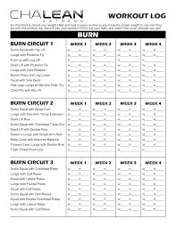 Chalean Extreme Workout Sheets | Chalean Workout Log Sheets ...