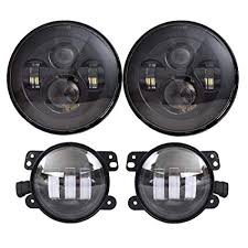 amazon com dot approved 7 black led headlights 4 cree led fog image unavailable