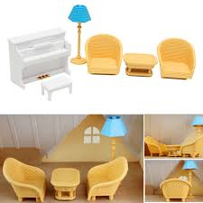 plan toys doll house household accessories set elegant dollhouse sofa piano table miniature furniture sets for
