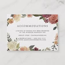 Hotel Accommodations Cards Rustic Bloom Wedding Hotel Accommodation Cards Zazzle Ca