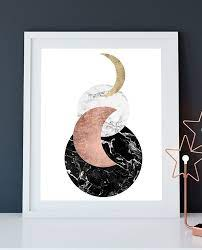 printable modern black white marble