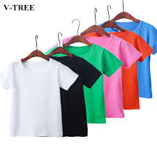 <b>Summer Children T shirt</b> 2018 Solid Color Girls Shirts 2 8T Tops For ...