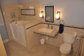 Beige Bathroom Tile Ideas Wooden Vanity With Drawers And Towels ...