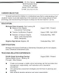 Teacher Resume Objective Mesmerizing Teacher Resume Objectives Examples Kenicandlecomfortzone