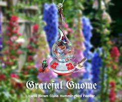 hand blown glass hummingbird feeder grateful gnome hand blown glass hummingbird feeder gnarly glass neck hummingbirds