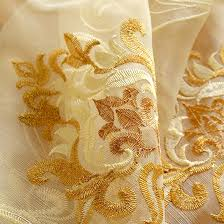 high end embroidery fl golden color sheer curtain