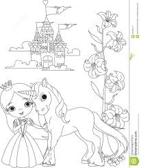 Beautiful Princess And Unicorn Coloring Page Stock Vector Pages For