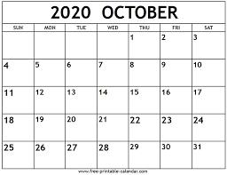 October 2020 Calendar Free Printable Calendar Com