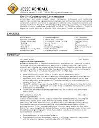 Pretentious Construction Superintendent Resume Excellent Custom