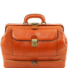 exclusive double bottom leather doctor bag