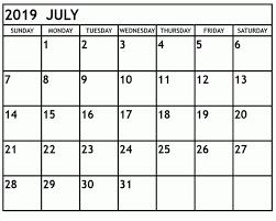 July 2019 Calendar Word List Calendar Printable Template