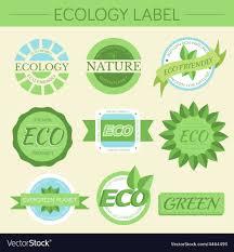 Label Print Design Green Eco Nature Label Print Set