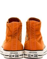 converse shoes orange. converse premium chuck taylor orange well worn high top sneakers shoes