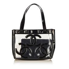 Clear Designer Totes Chanel Black Clear Vinyl Triple Cc Tote