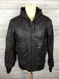 men s river island hooded leather jacket medium brown great condition