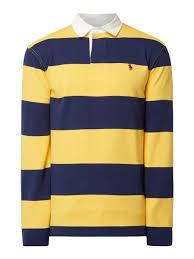 polo ralph lauren rugby shirt mit blockstreifen gelb 1