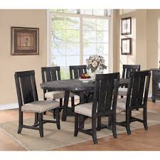 modus round yosemite 7 piece oval dining table set with wood chairs com