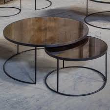 bronze heavy aged mirror round nesting coffee table