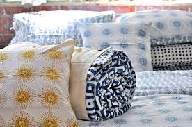 read on for her explanation of how the wood block patterns on the bedding are created