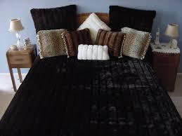 dark brown channeled mink fake faux fur blanket throw comforter bedspread shams