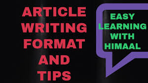 Article Writing Format Cbse Easy Learning Youtube