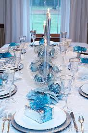 christmas-holiday-table-setting-blue-white-silver-decorations-