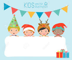 Children And Greeting Christmas And New Year Card Kids Peeping
