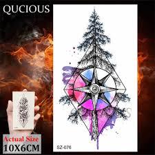 милые акварель фокс компас елка волк небольшие временные татуировки для для