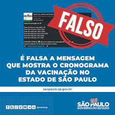 Governo do Estado de São Paulo - ❌ É falsa a mensagem que mostra o  cronograma de vacinação do estado de São Paulo. As únicas datas confirmadas  pelo Governo de SP são