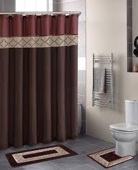 Rust Brown Modern Shower Curtain 15 Pcs Bath Rug Mat Contour Hooks