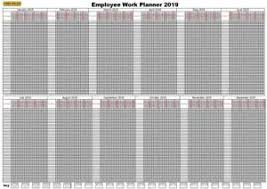 Details About 2019 Jan Dec 365 Day 50 Staff Employee Holiday Work Planner Chart A1