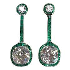 art deco emerald diamond platinum drop earrings for