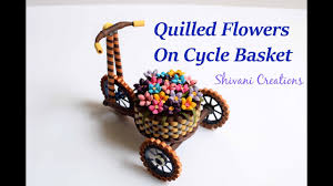 Paper Quilling Flower Baskets Part Two Quilled Flowers For Cycle Basket Quilled Flower Basket