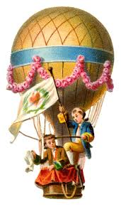 vintage graphic hot air balloon