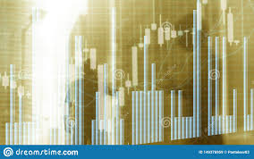 Bac Candlestick Chart Silhouettes Of Business People Stock Market Graph And Bar