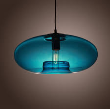 american modern glass pendant liights with blue round glass lamp