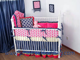 navy baby bedding pink and crib blue white chevron