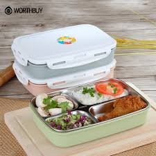 WORTHBUY 304 Stainless Steel Japanese Lunch Box Containers With  Compartments Microwave Bento Box For Kids Picnic