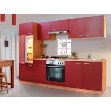 Respekta Küchenzeile ohne E Geräte LBKB270BR 270 cm Rot Buche