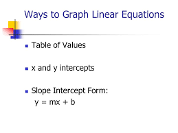 ways to graph linear equations