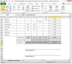 Timesheet Formulas In Excel Free Bi Weekly Timesheet Template For Excel 2013