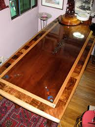 Inlaid Dining Table Custom Laminated Exotic Hardwood Dining Table With Inlay Reclaimed