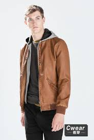 brown leather jacket with hoo