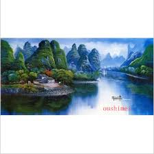 handmade pictures guilin landscape in china home decor on wall oil painting on canvas famous chinese