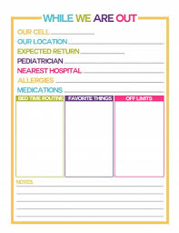 Babysitter Information Babysitter Information Sheet Template Business