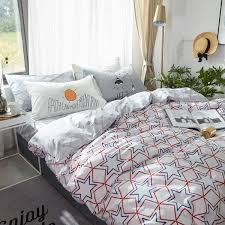 navy blue and red stars printed cotton bedding sets